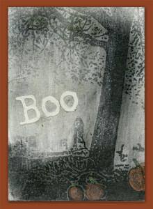 ATCs-Halloween-Graveyard–Pumpkin Graphite Powder Resist