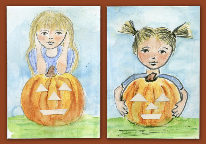 October ATCs- Little Girls with Pumpkins