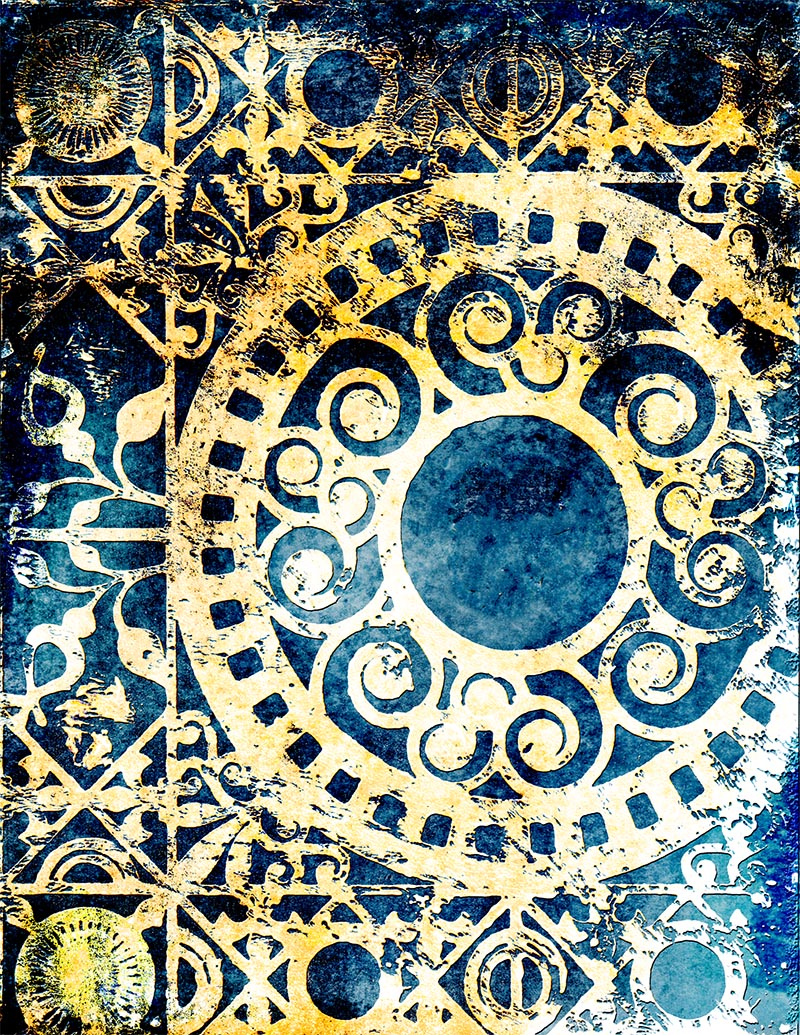 Medallion Gelli Arts monoprint  blue