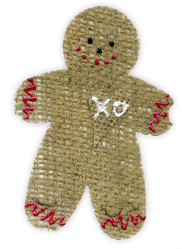 Burlap Encaustic Gingerbread Man