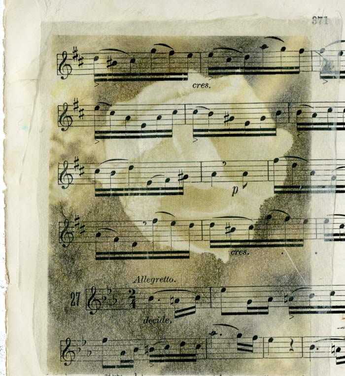 Gampi paper on old sheet music