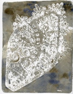 Gelli Arts Print from Mask Stencil