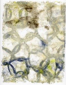 Gelli Arts Print Stencil diffused with Water Spray