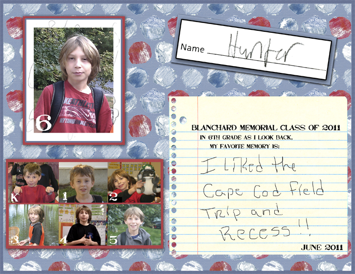 Simple School Scrapbook Layout for a Boy using Photo Mats