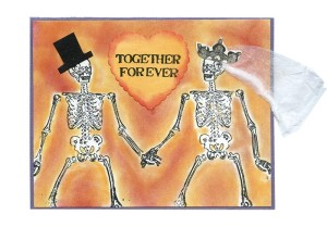 Skeleton Bride Groom RubberStamps