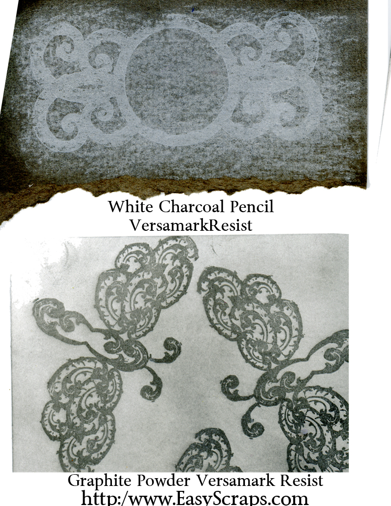 White Charcoal Pencil and Versamark Resist Technique