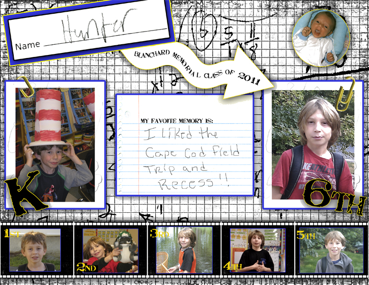 Digital Scrapbook Layout for a School Yearbook for a Boy