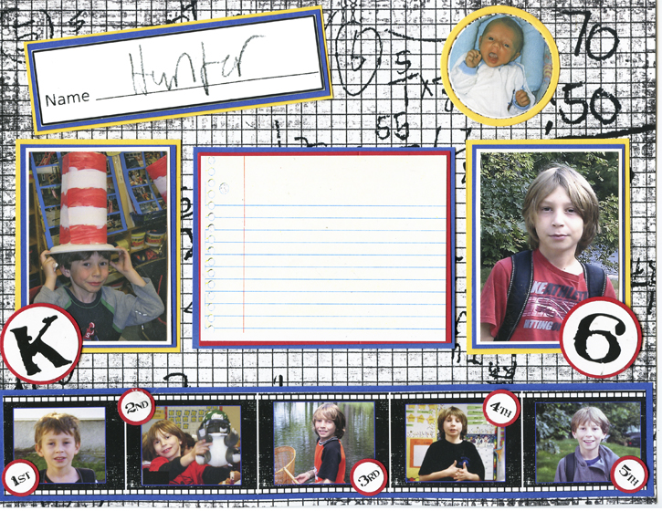 Scrapbook Layout for a School Yearbook for a Boy