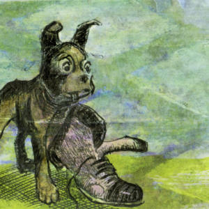 Dog With Shoe A2 Card Front