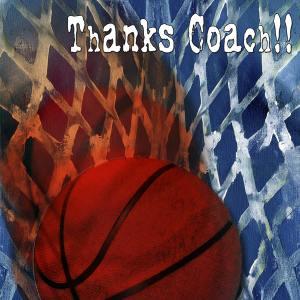 Basketball Coach Thankyou A2 Card Front
