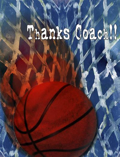 Basketball Coach Thankyou A2 Card Front