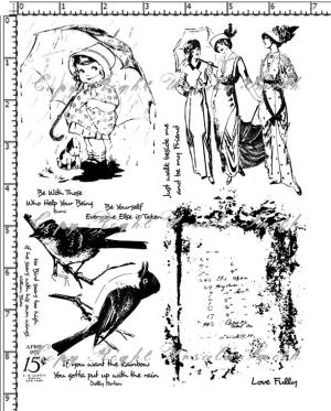 Bird Girl Vintage Ladies Rubber Stamp Set