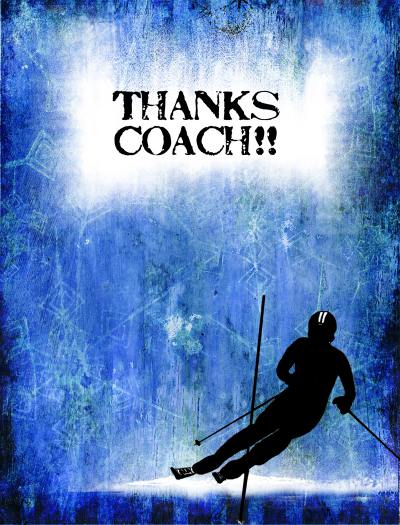 Boy Ski Racer Coach ThankYou Card Front