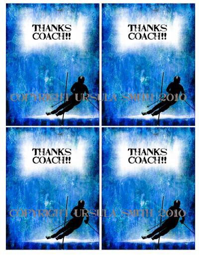 Boy Ski Racer Coach ThankYou Card Fronts