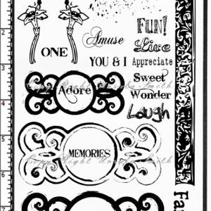 Circle Frames and Words Rubber Stamps