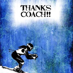 Girl Ski Racer Coach ThankYou Card Front