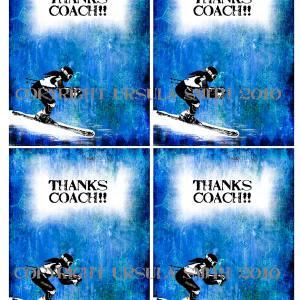 Girl Ski Racer Coach ThankYou A2 Card Fronts
