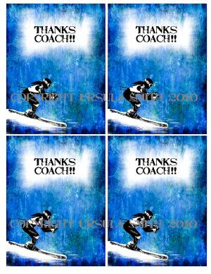 Girl Ski Racer Coach ThankYou A2 Card Fronts