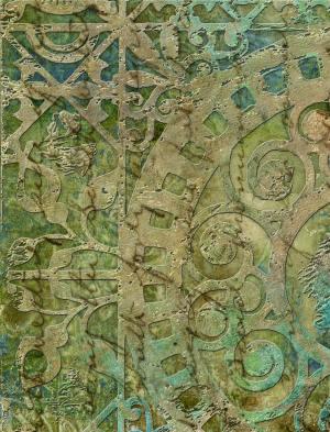 Green Scroll Script A2 Card Front