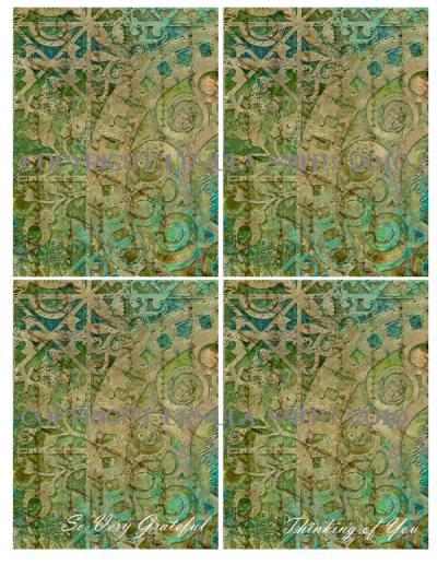 Green Scroll Script A2 Card Fronts
