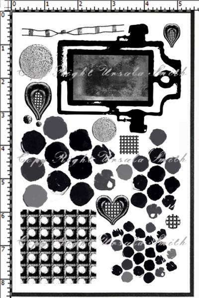Grunge Mirror and Punchanella Rubber Stamps
