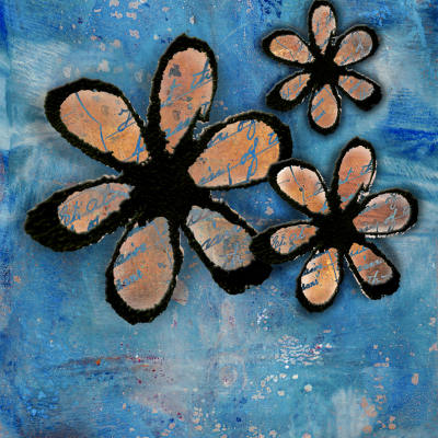 Inky Flowers Blue Background A2 Card Front