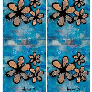 Inky Flowers Blue Background A2 Card Fronts