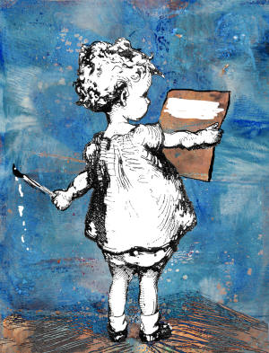 Little Girl Painting A2 Card Front