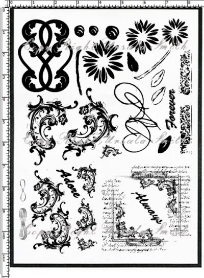 Scroll Flourishes and Flowers Rubber Stamps