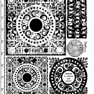 Scroll Tiles Inverse Grunge Rubber Stamp Set