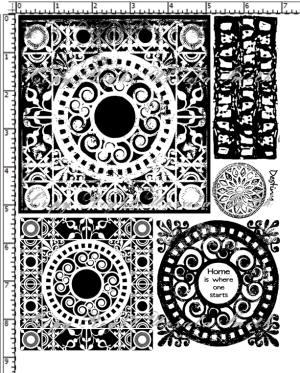 Scroll Tiles Inverse Grunge Rubber Stamp Set