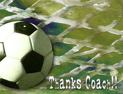Soccer Coach Thankyou A2 Card Front