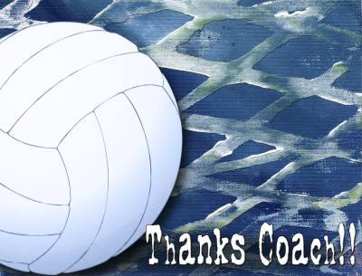 Volleyball Coach Thankyou A2 Card Front