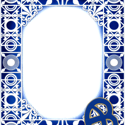 Rosette Stencil Rectangle Frame Blue for web