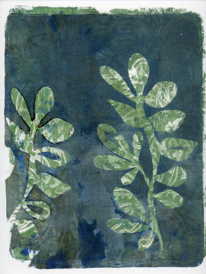 Gelli Arts Leaf Over Print