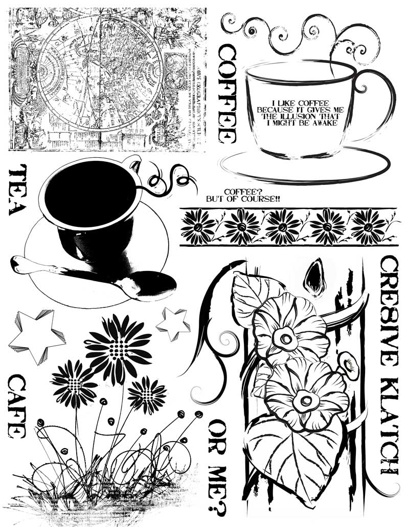 Coffee Tea Rubber Stamps