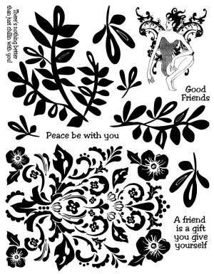 Fern Scroll Rubber Stamps