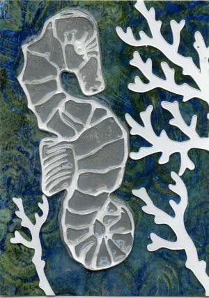 Gelli Arts Print Seahorse ATC