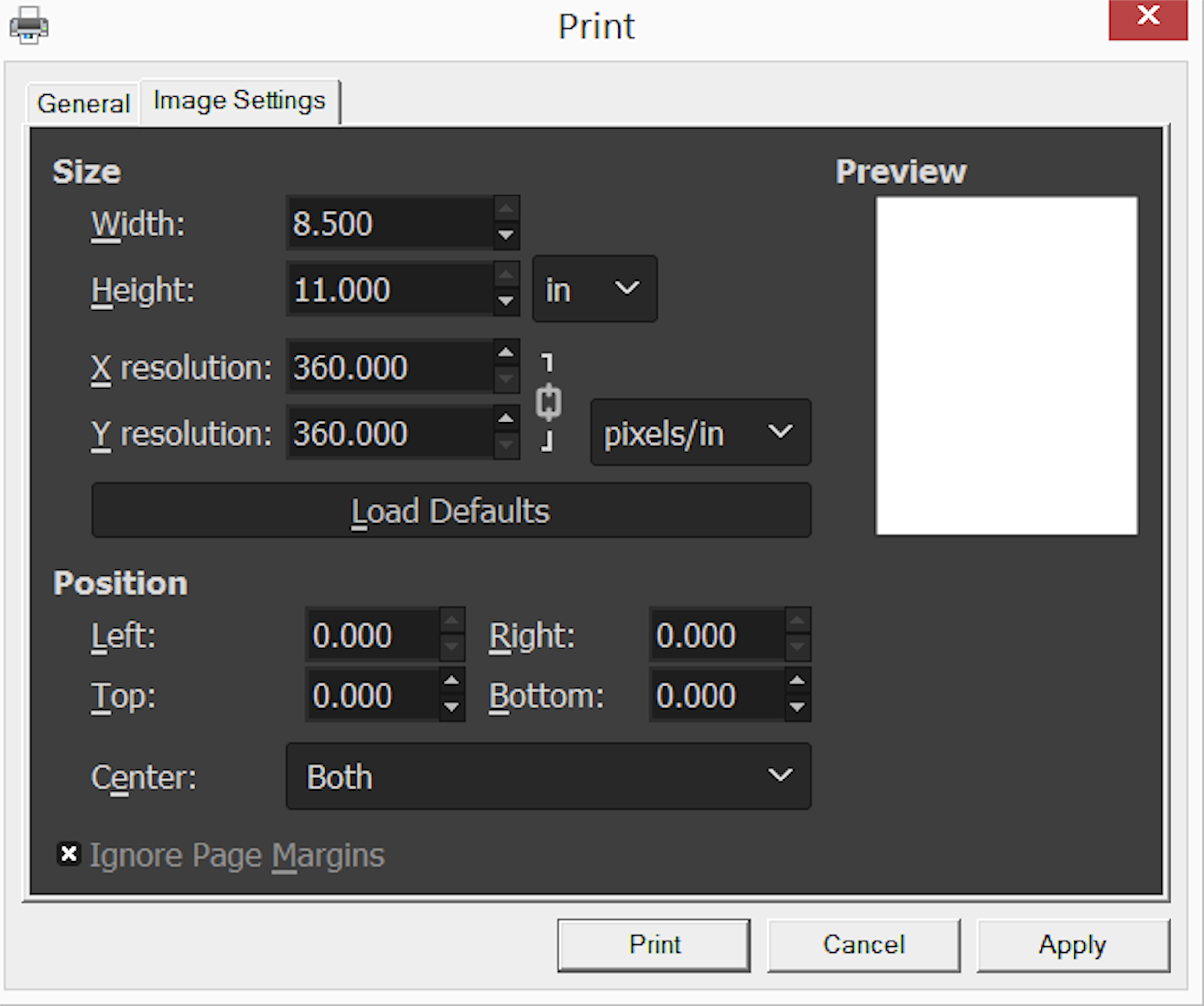 Image Settings to print from GIMP without margins