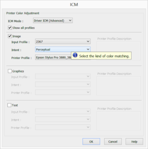 Printer ICM settings