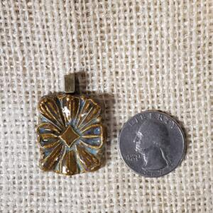 Brown Blue Floral Ceramic Pendant Front
