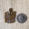Brown Blue Floral Ceramic Pendant Back
