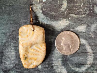 Bone Fossil Mold Ceramic Pendant Front