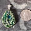 Green Glass Gemstone Mold Ceramic Pendant Front