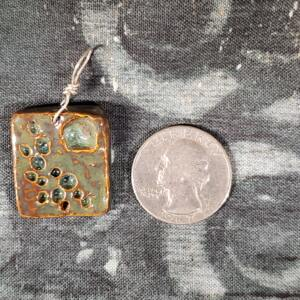 Olive Green Rectangle Ceramic Pendant Front