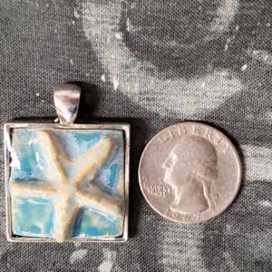 Square Starfish Turquoise Ceramic Pendant