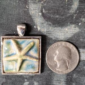 Bone Starfish Square Ceramic Pendant