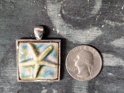 Bone Starfish Square Ceramic Pendant