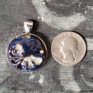 Dark Blue Floral Ceramic Pendant