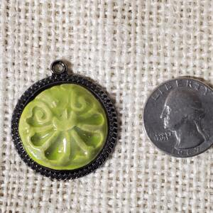 Bright Green Floral Design Ceramic Pendant